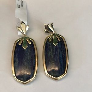 NWT rare Kendra Scott lapis Dillon earrings gold